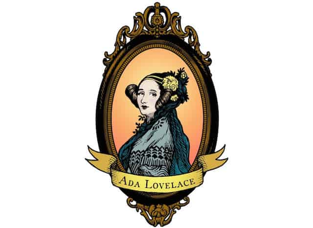 A color woodcut-style portrait of Ada Lovelace, based on the nineteenth century A. E. Chalon portrait.