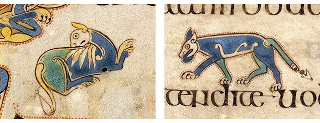 Figures 2 - 3, Folios 183v and 76v, from the Book of Kells, depictions of cats