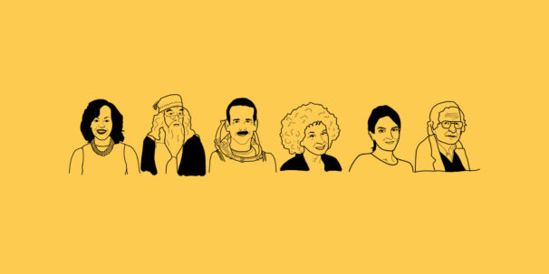 Illustration of Michelle Obama, Dumbledore, Chris Hadfield, Margaret Atwood, Tina Fey and Noam Chomsky.