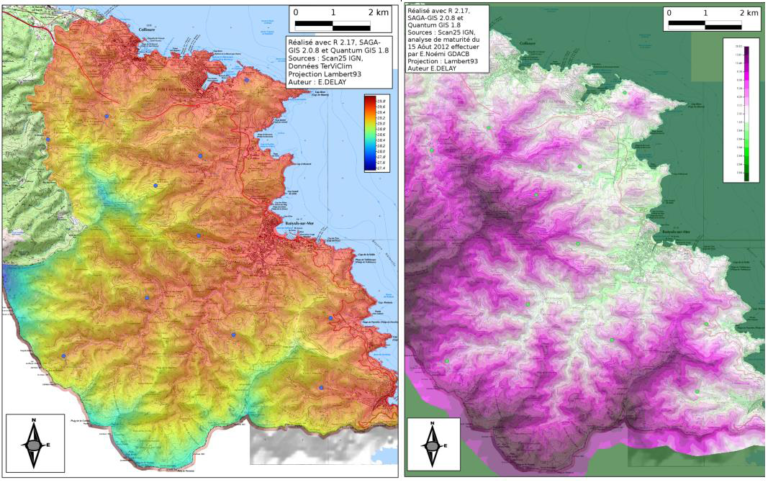 Two aerial maps of the Banyuls-Colioures AOC area in France. One shows temperature range with the coldest areas in blue and the hottest areas in red. The other shows the range of acidity in grapes grown in that area with most acidic areas in purple and the more neutral areas in white. Comparison of the two maps shows that the hottest areas on the temperature map correlate with the least acidic areas on the acidity map.