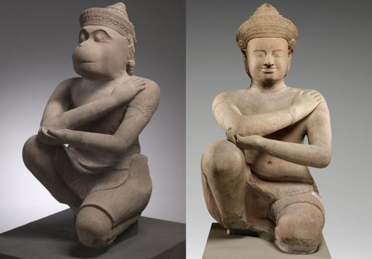 Prasat Chen Statues Hanuman and Attendant