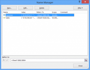 name manager on ribbon