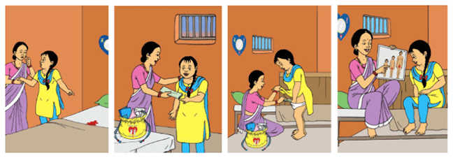 1: Bishesta shows Perana menstrual blood in her bed. Bishesta looks concerned. 2. Perana hands Bishesta a menstrual cloth from the full yellow menstrual storage bag 3. Perana shows Bishesta how to place the menstrual cloth in her underwear. The full yellow menstrual storage bag is in the foreground 4. Perana shows Bishesta a picture of how a girl develops physically during puberty and that she menstruates. Bishesta looks engaged and Perana is smiling.
