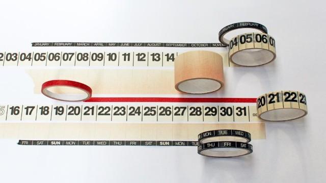 Rolls of calendar masking tape