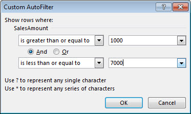 Screenshot of filter criteria in Excel