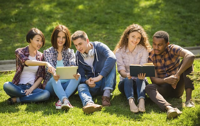 Choosing the right university: a group of happy students