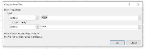 Excel Custom Filter