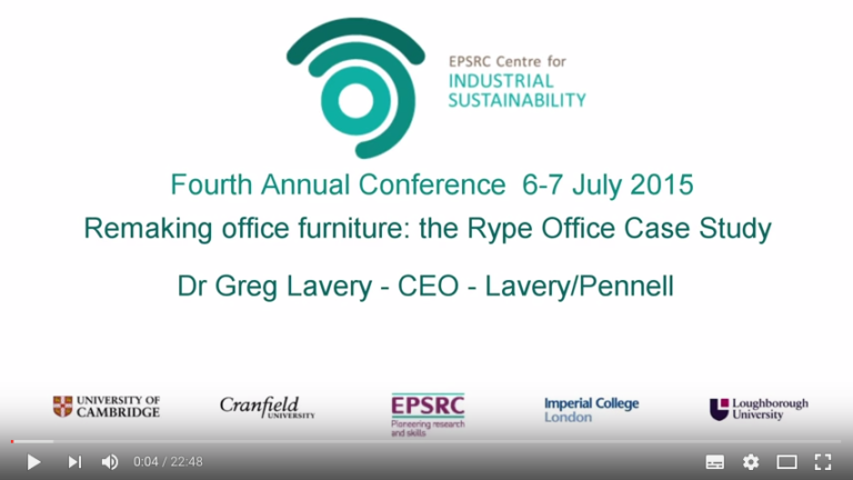 Remaking Office furniture: the Rype Office Case Study - Dr Greg Lavery