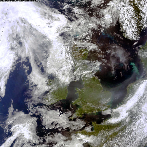 A satellite image of the UK from July 2013