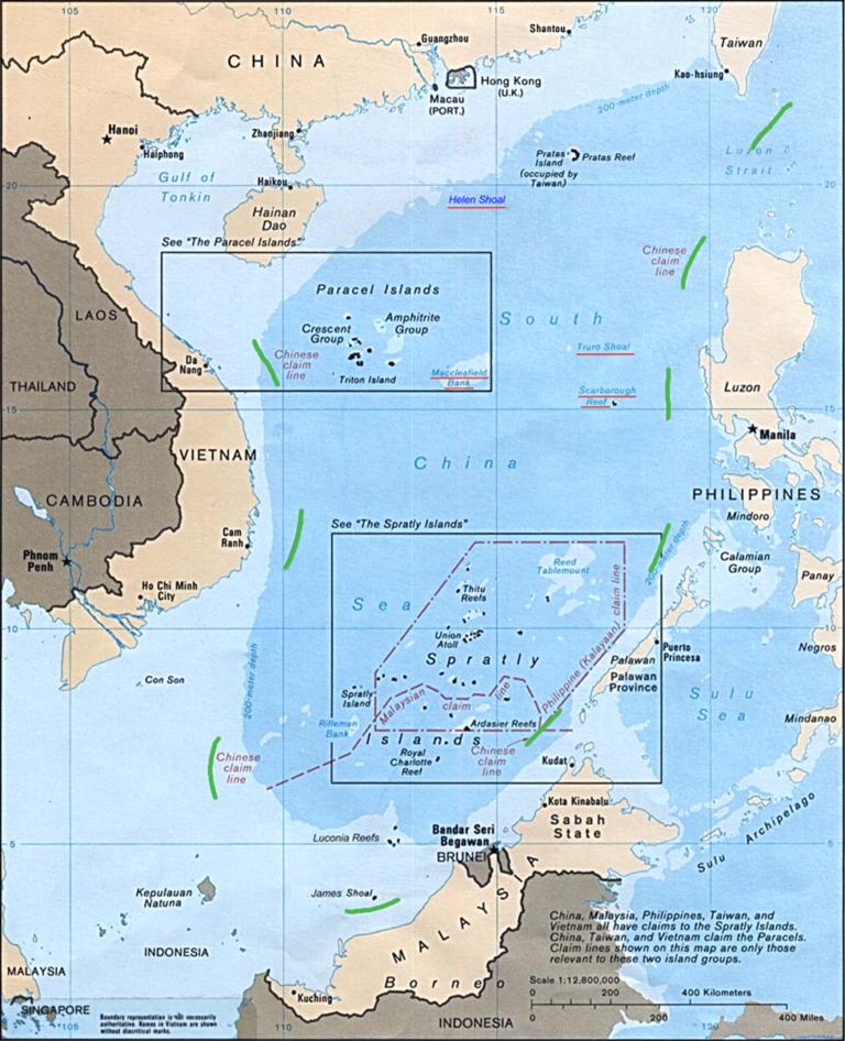 Map: the South China Sea, 1988