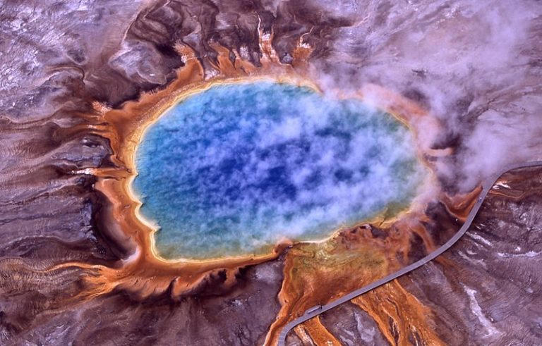 An aerial shot of a volcano in Yellowstone park