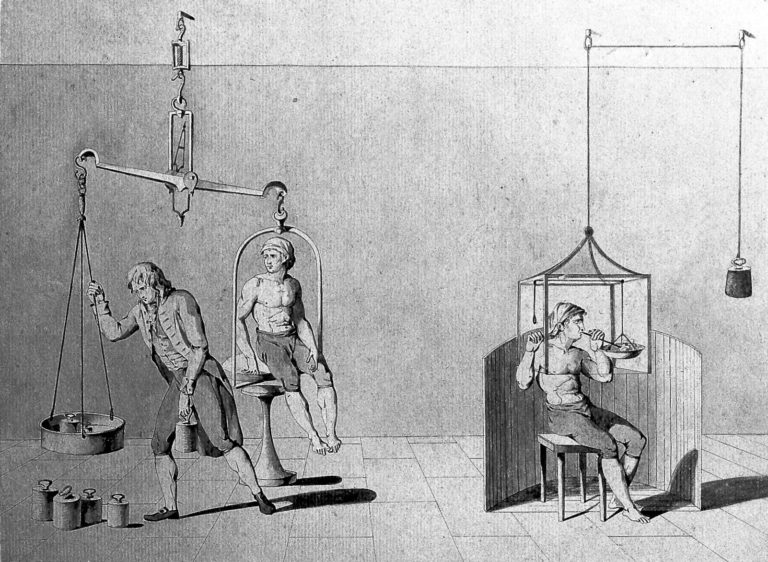 Drawing of a a man being weighed on a set of scales