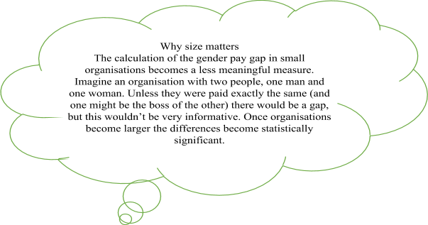 A cloud shape explaining why size matters. The calculation of the gender pay gap in small organisations becomes a less meaningful measure. Imagine an organisation with two people, one man and one woman. Unless they were both paid exactly the same (and one might be the boss of the other) there would be a gap, but this wouldn't be very informative. Once organisations become larger the differences become statistically significant.