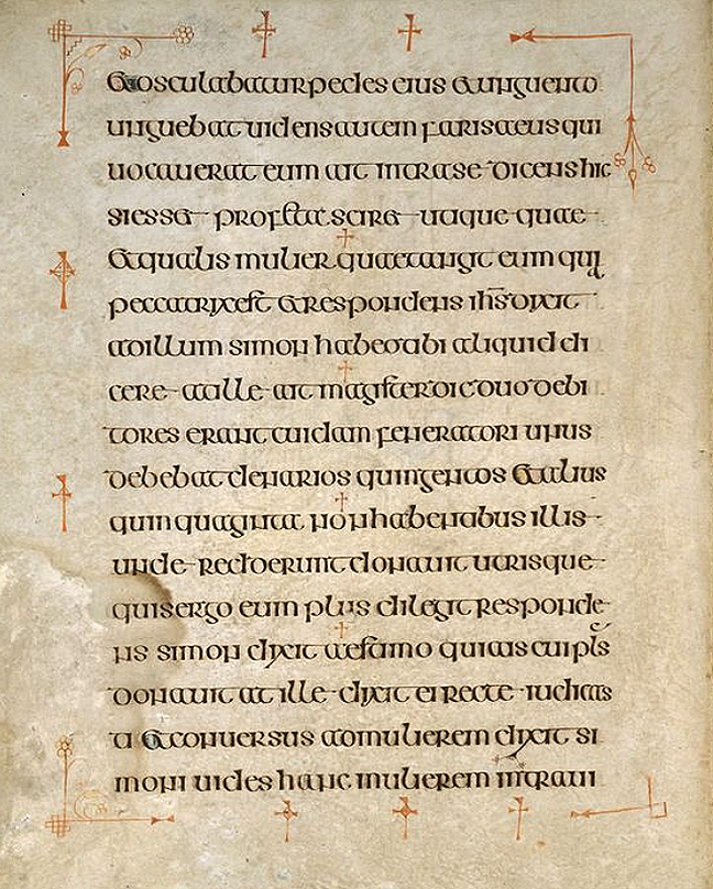 Figure 3, from the Book of Kells, a page framed by red crosses