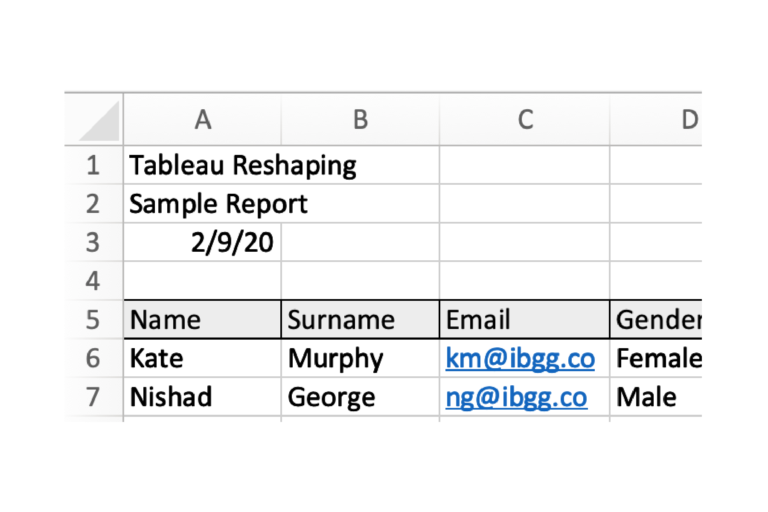 Screenshot shows a table in Excel