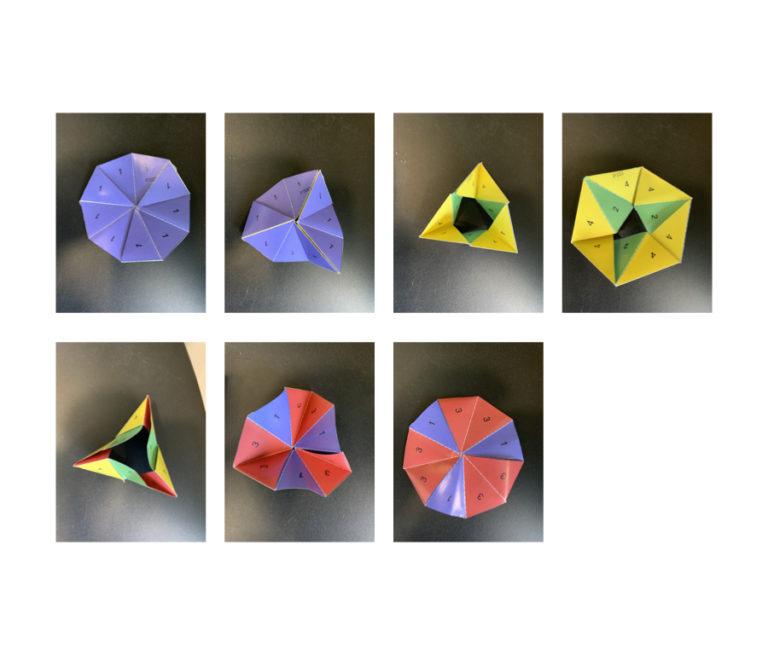 Left to right: P333 flexing an enneaflexagon