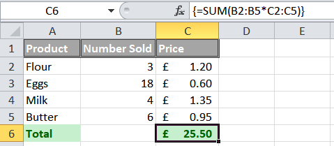 An example of how an Excel array formula is used.