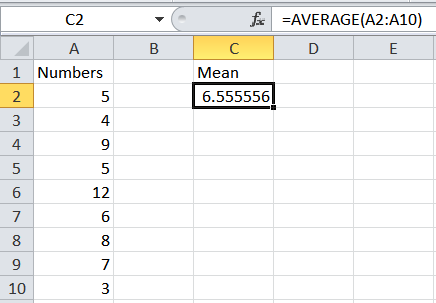 How to calculate a mean average in Excel.