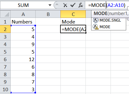How to calculate a mode average in Excel.