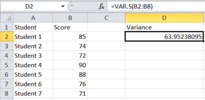 How to use Excel to calculate variance.