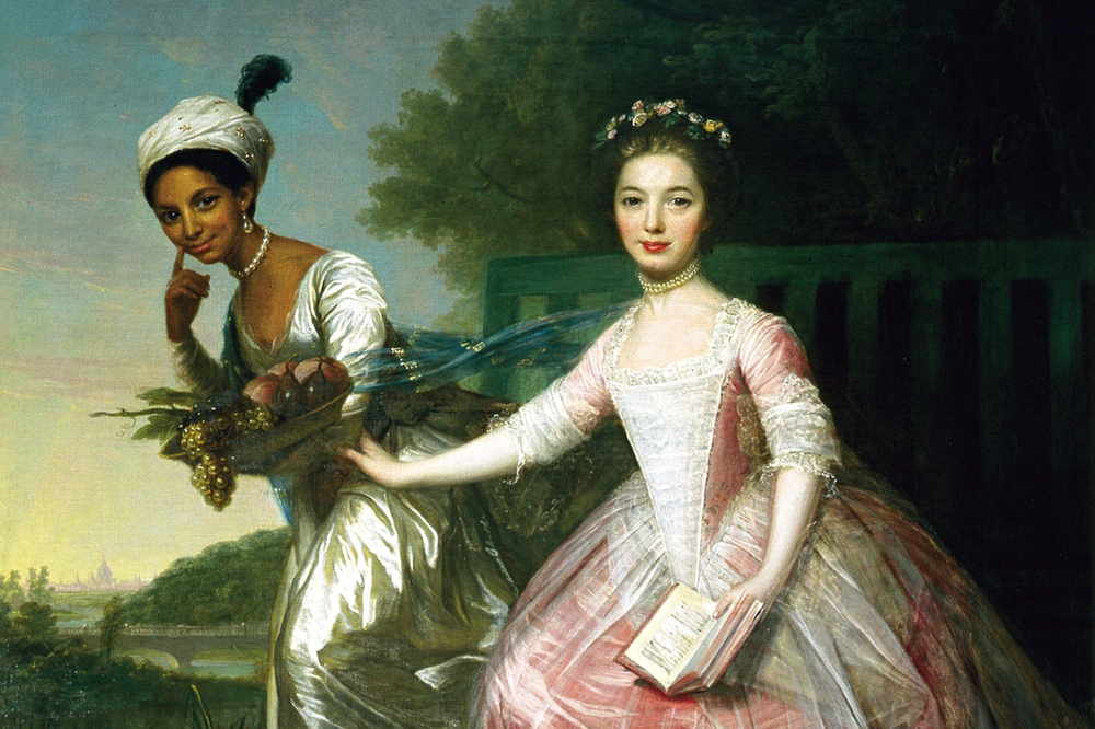A painting of a young black woman wearing a turban beside her companion a young white English woman with a landscape background