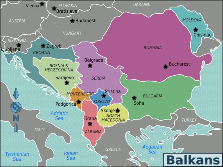 Map: Balkans map in the nineties