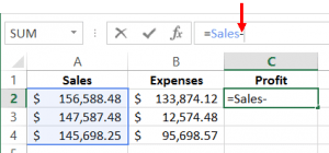 spreadsheet showing names being used in formula