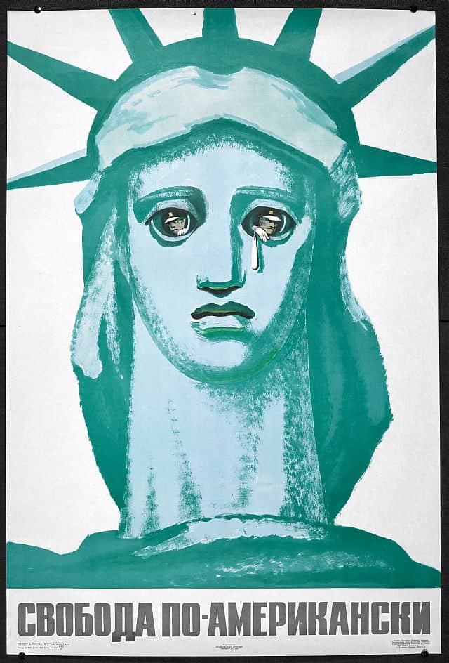 A Soviet propaganda poster showing policemen looking out of the eyes of the Statue of Liberty