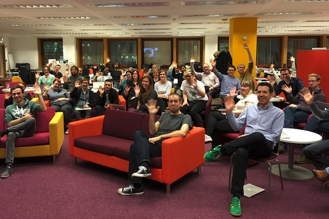 The FutureLearn team at an all-company Friday Meeting