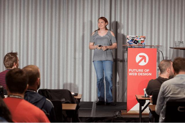 Melinda Seckington speaking at Future of Web Design 2015