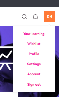 Screen grab of the new navigation featuring wishlist.