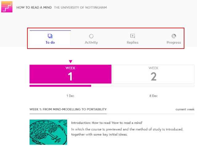 A screenshot of the new in-course navigation on FutureLearn