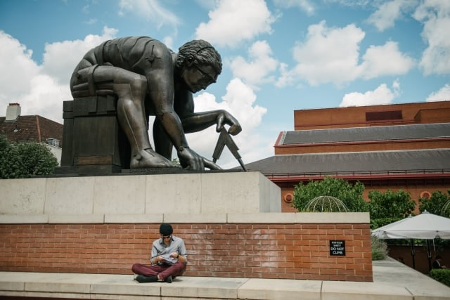 A statue outside the British Library - FutureLearn's home at the heart of London's new Knowledge Quarter