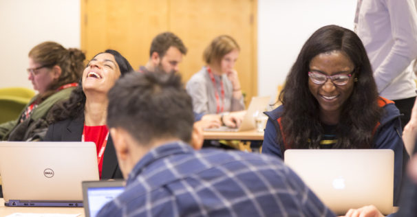 Coding beginners attend a class at FutureLearn to celebrate National Coding Week