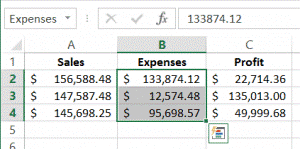 expense range selected