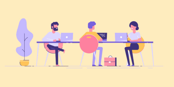 illustration of people learning at work