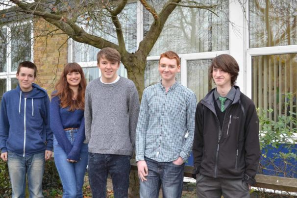 Ousedale School students from left to right: Harry, Emma, Robin, Sam and Joe