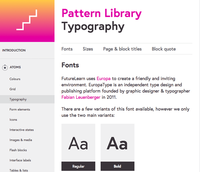 A screenshot of FutureLearn's new pattern library