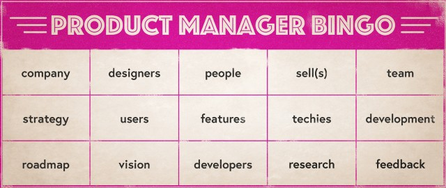 A bingo card to play Product Manager Bingo