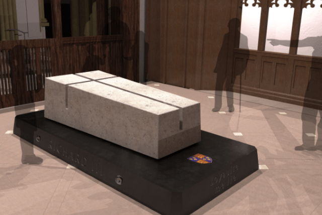 The tomb at Leicester Cathedral, in which King Richard III will be buried