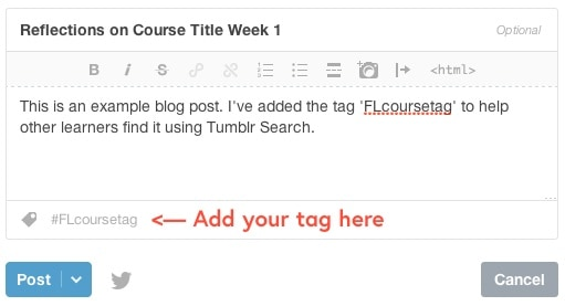 A draft Tumblr post that includes a course hashtag in the tagging area