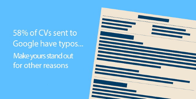 """A graphic which reads """"58% of CVs sent to Google have typos"""""""