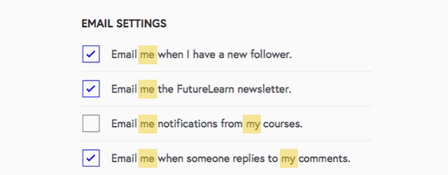 """Email me"" on FutureLearn"